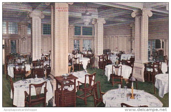 California San Francisco Hotel Stewart Main Dining Room 1910