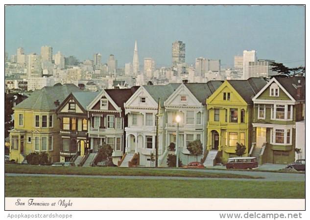 California San Francisco Victorian HOuse At Night