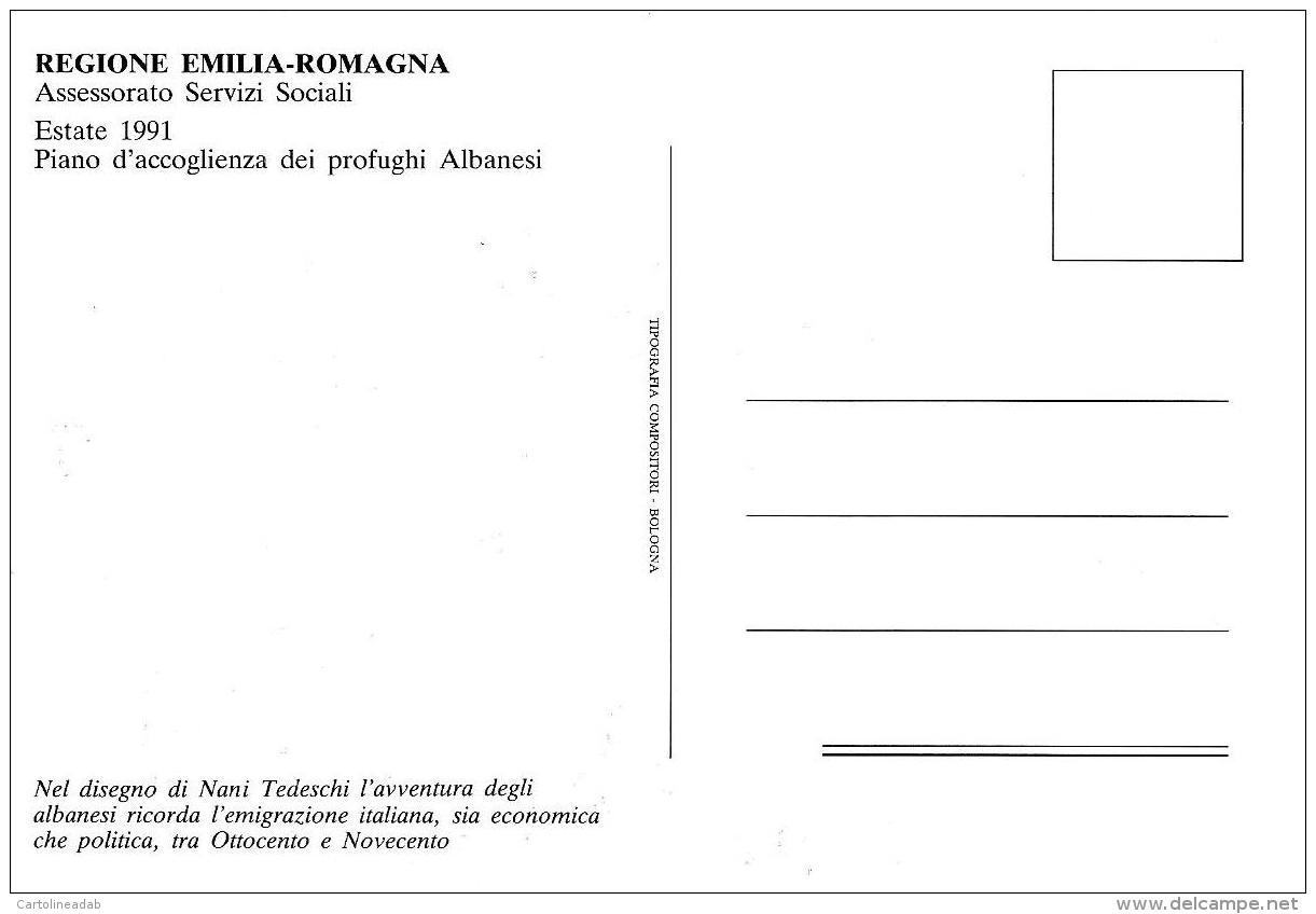 [MD1613] CPM - REGIONE EMILIA ROMAGNA - ESTATE 1991 PIANO ACCOGLIENZA PROFUGHI ALBANESI - DISEGNO DI NANI TEDESCHI - NV - Italia