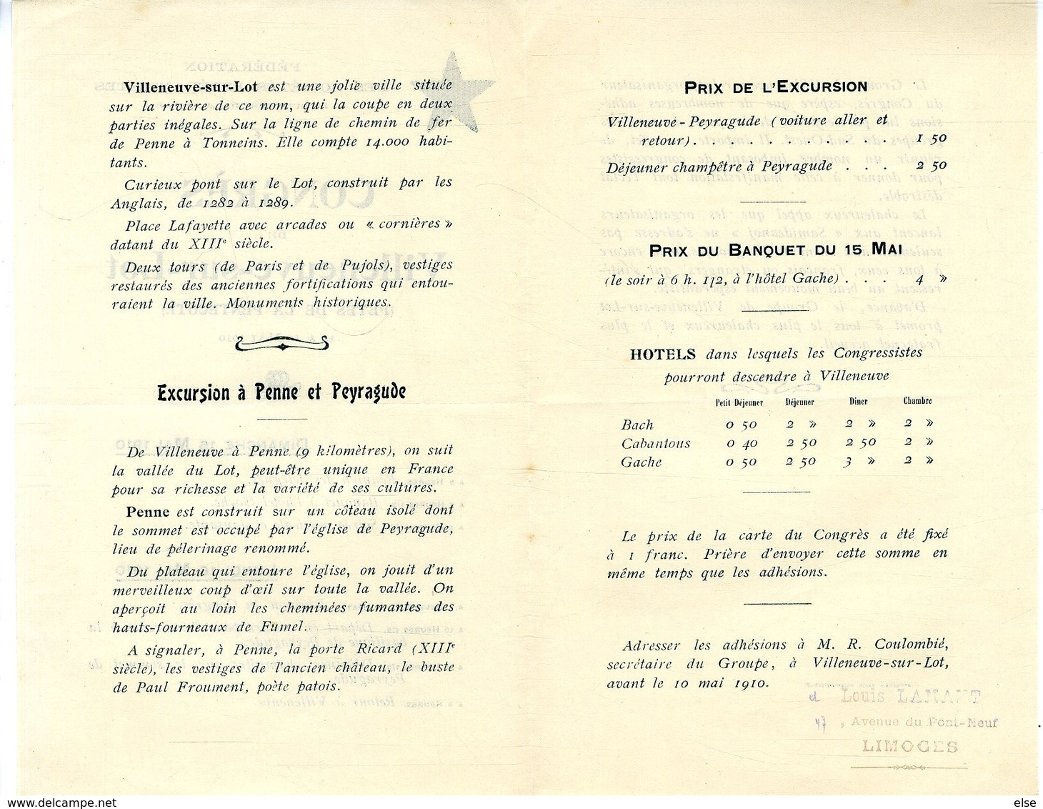 ESPERANTO  CONGRES DE VILLENEUVE SUR LOT  Penne Peyragude  MAI 1910  -  2 DEPLIANTS - Frankrijk