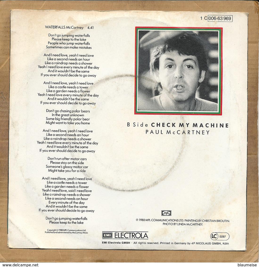 """7"""" Single, Paul McCartney, Waterfalls - Disco, Pop"""