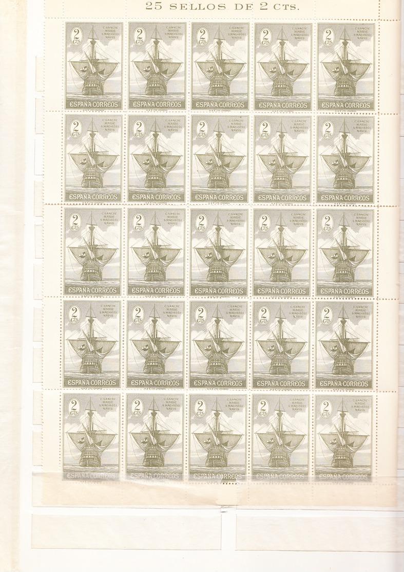 ESPAÑA1930.DESCUBRIMIENTO AMERICA  EDIFIL 532. 2 CENT Verde /oliva,PLIEGO  25 SELLOS NUEVO SIN CHARNELA .ceci4 Nº 14 - 1889-1931 Reino: Alfonso XIII