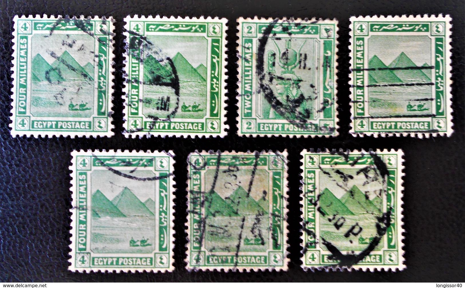 PROTECTORAT BRITANNIQUE - PYRAMIDE DE GIZEH 1922 - NEUF ** - YT 59 - VARIETES DE TEINTES ET D'OBLITERATIONS - Égypte