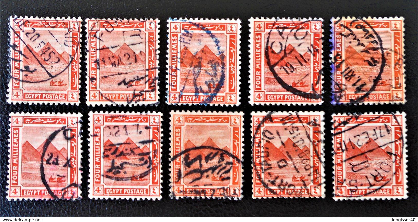 SULTANAT - PYRAMIDE DE GIZEH 1914 - NEUF ** - YT 47 - VARIETES DE TEINTES ET D'OBLITERATIONS - Égypte