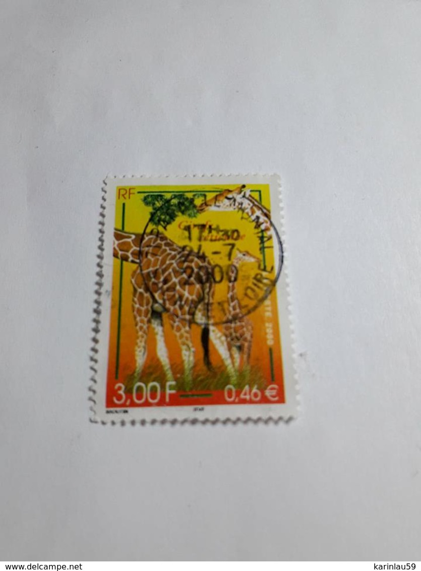 Timbre France  Oblitéré 2000 N° 3333 Girafe Réticulée - France