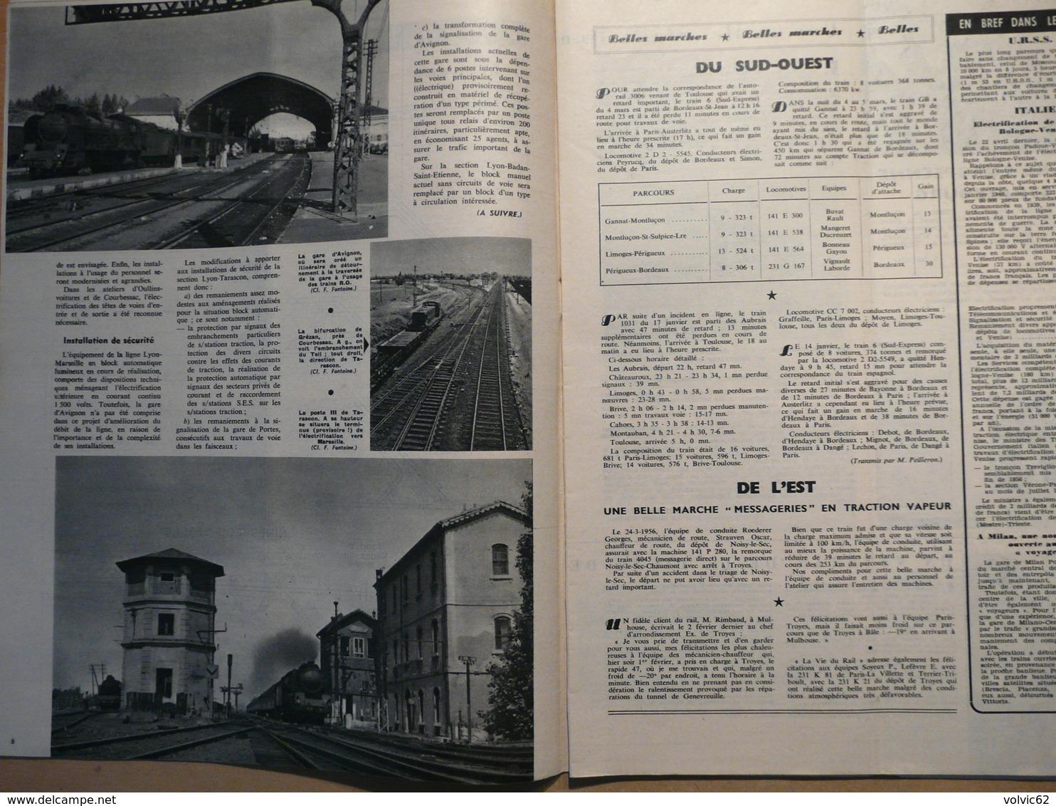 Vie Du Rail 563 1956 Donzère Tarascon Avignon Arles St Victor De Thizy Southern Pacific Railroad Louis Tollet - Trains