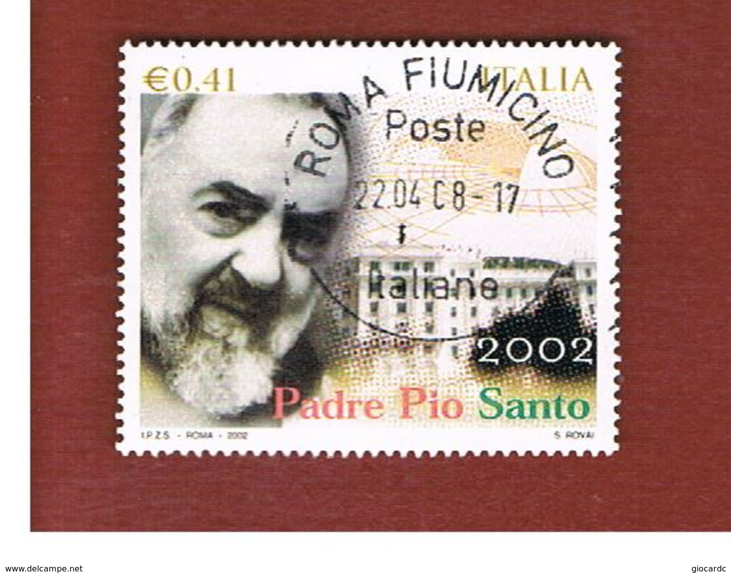 ITALIA REPUBBLICA  -  2002  PADRE PIO SANTO     - USATO ° - 1946-.. République
