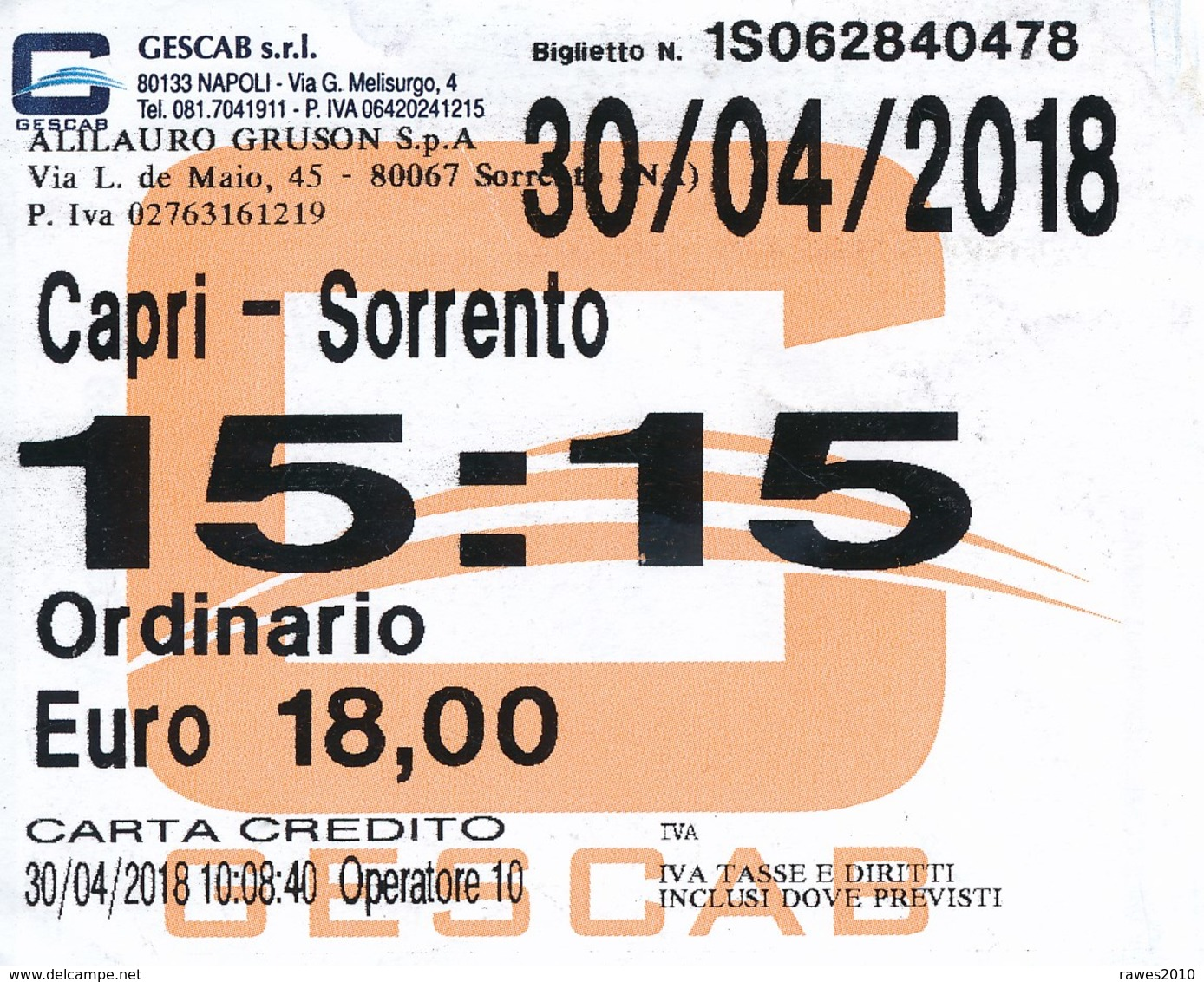 Italien 2018 Schiffsfahrkarte Capri - Sorrent (Rückfahrt) - Schiffstickets