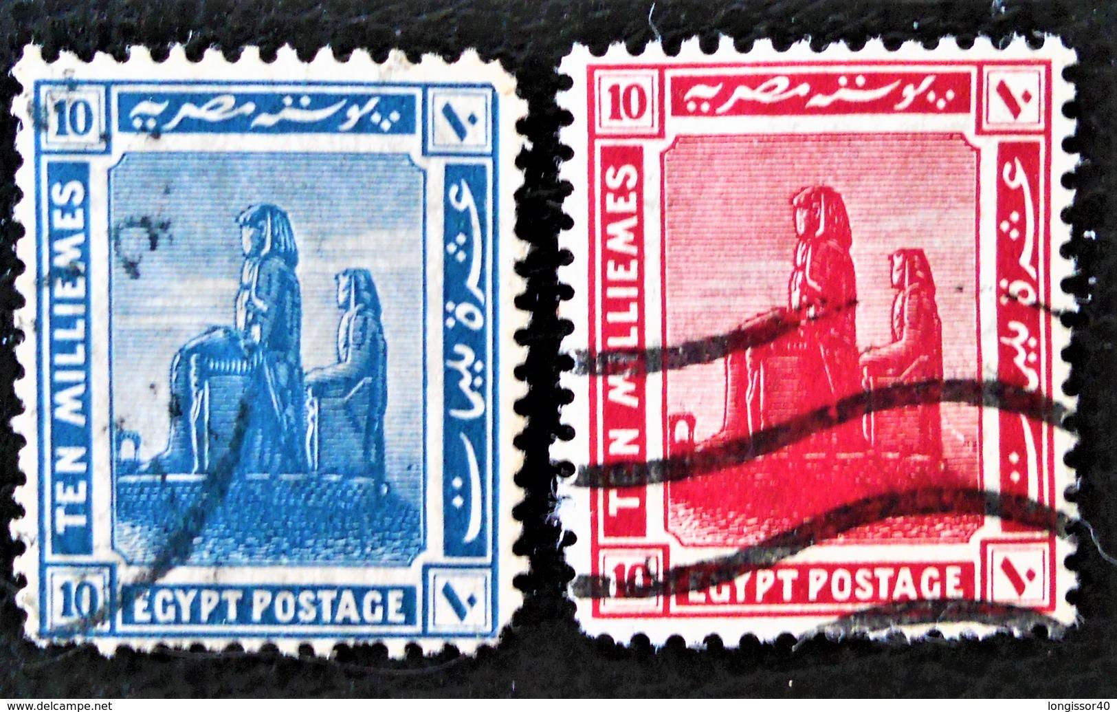 PROTECTORAT BRITANNIQUE - COLOSSE DE MENNON 1922 - OBLITERES - YT 62/63 - Égypte