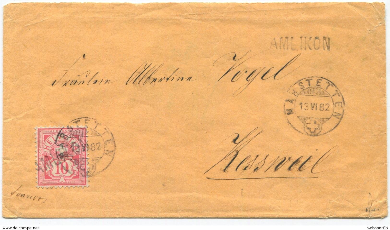 1803 - AMLIKON Stabstempel Auf 10 Rp. Wertziffer (weisses Papier) Mit Datumstempel MÄRSTETTEN 13 VI 82 - Lettres & Documents