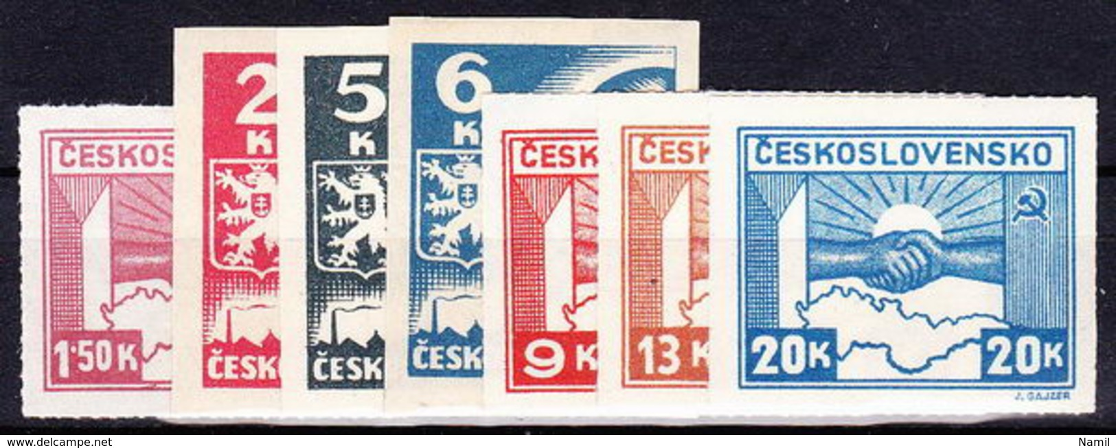 ** Tchécoslovaquie 1945 Mi 408-10+411-4 (Yv 356-62), (MNH) - Unused Stamps