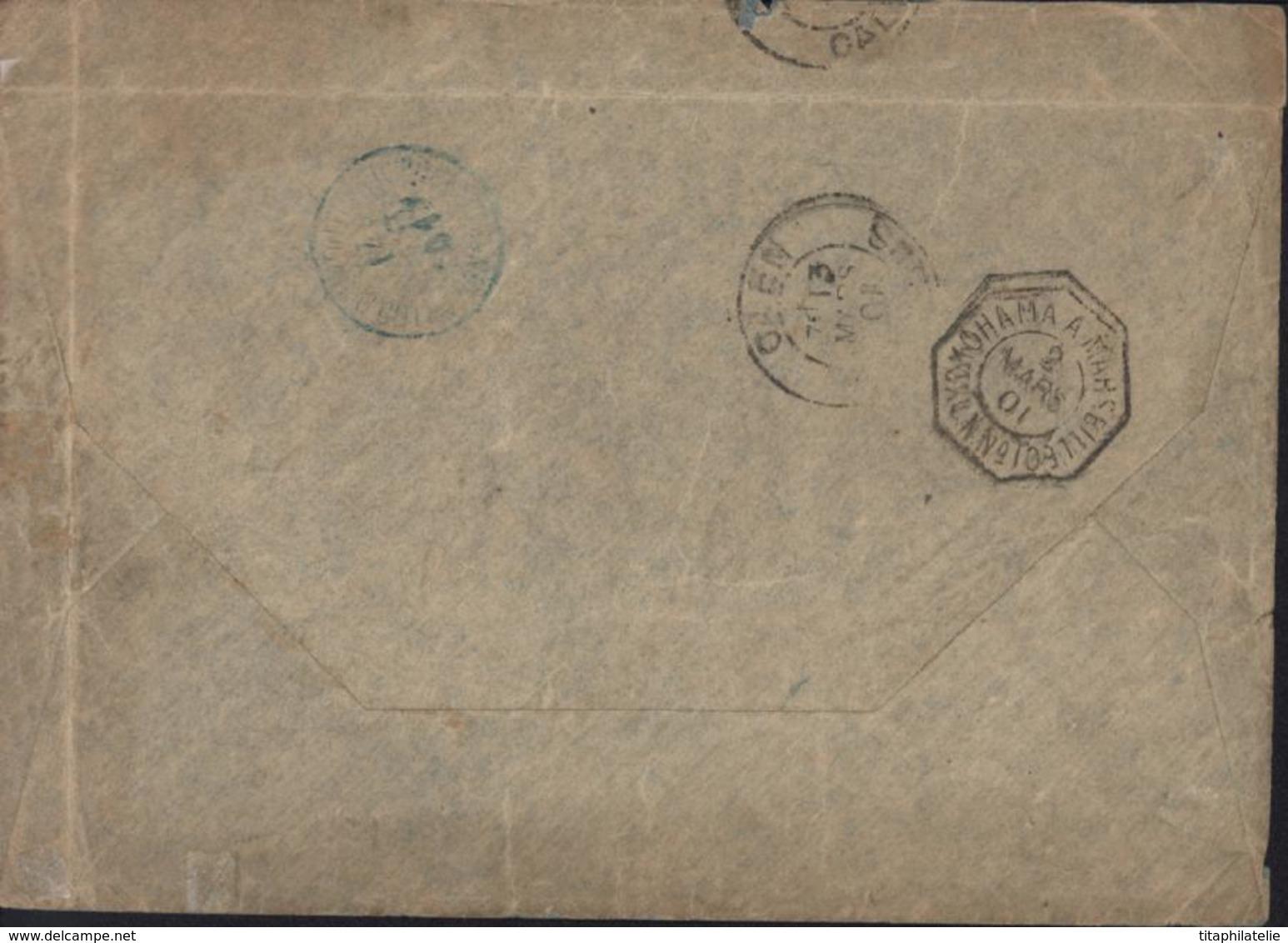 CAD Bleu Djibouti Cote Française Des Somalis 14 2 01 Verso CAD Maritime Yokohama à Marseille LN N°10 2 3 01 Octogonal - Lettres & Documents