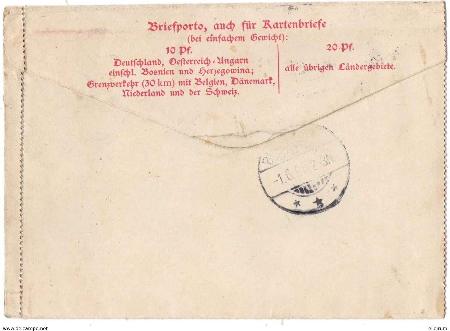BOLLWEILER- LAUTENBACH. ALSACE-LORRAINE. KARTENBRIEF. AMBULANT. 1897. POUR BISCHWILLER. - Alsace-Lorraine