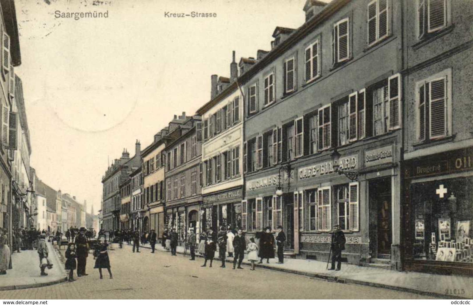 Saargemund Kreuz Strasse Commerces Personnages RV - Sarreguemines