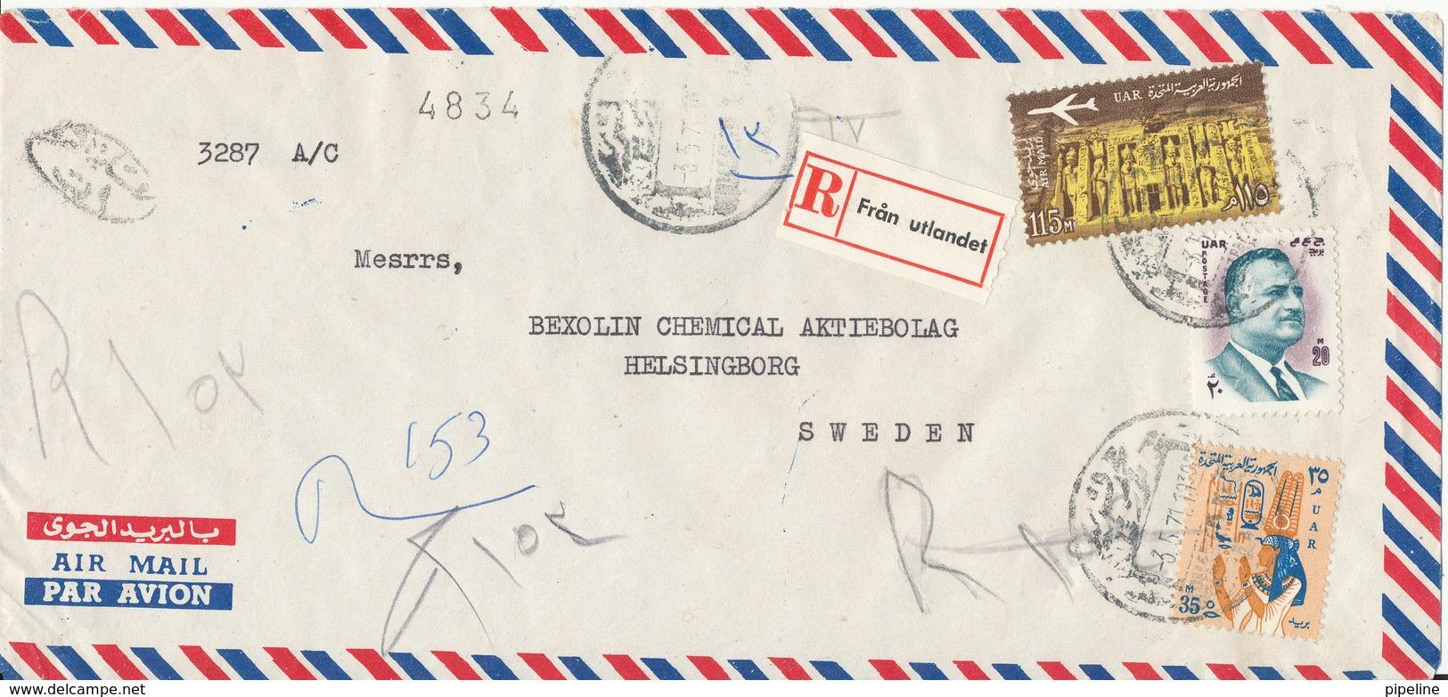 Egypt Registered Air Mail Cover Sent To Denmark 5-7-1971 - Egypt