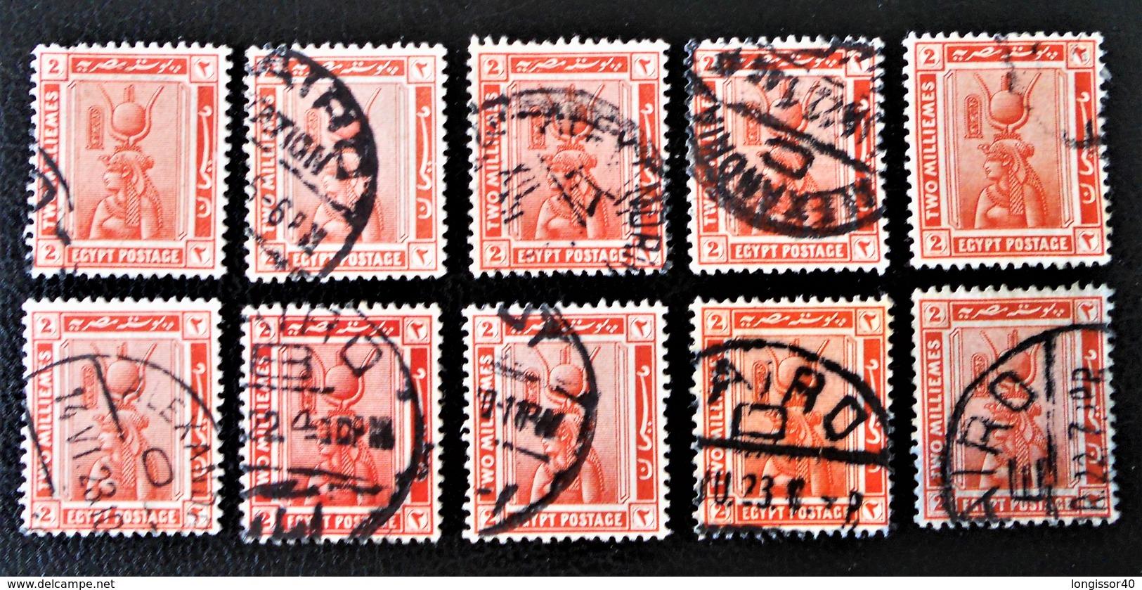 PROTECTORAT BRITANNIQUE - CLEOPATRE AVEC COIFFE D'ISIS 1922 - OBLITERES - YT 57 - VARIETES DE TEINTES ET D'OBLITERATIONS - Égypte