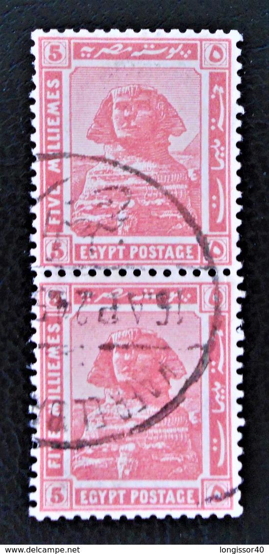 PROTECTORAT BRITANNIQUE - SPHINX DE GIZEH 1922 - PAIRE VERTICALE OBLITEREE - YT 61 - Égypte