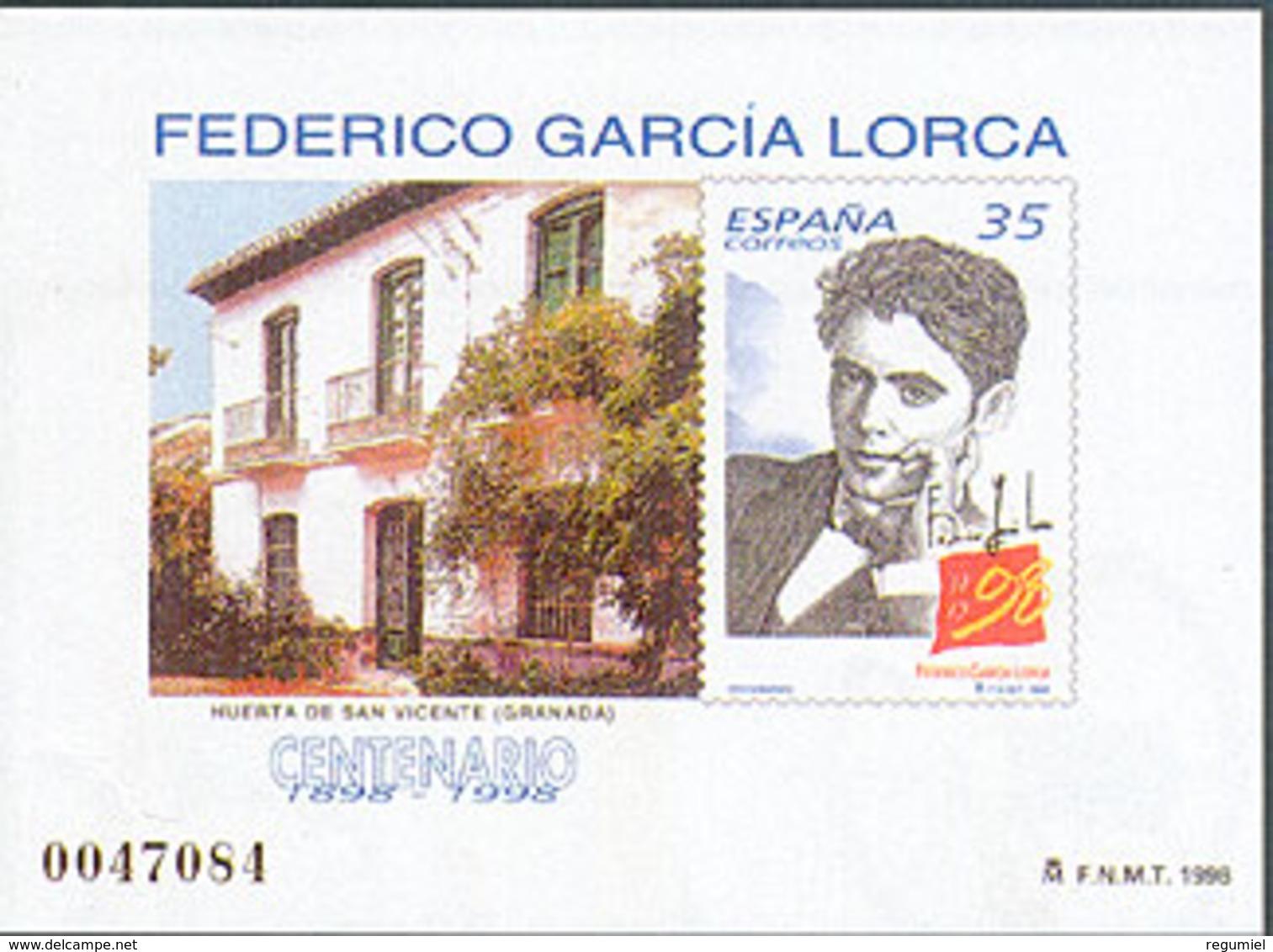 España Prueba De Lujo 065 ** Garcia Lorca. 1998 - Blocs & Feuillets