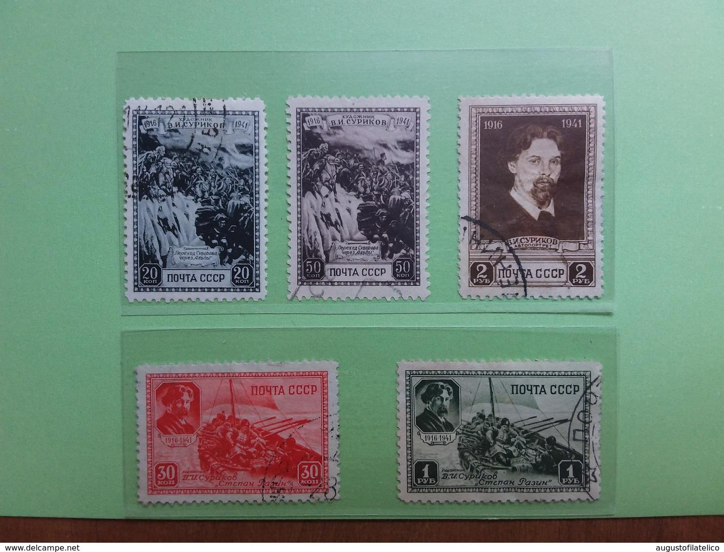 RUSSIA 1941 - 25° Anniversario Morte Pittore Ssurikovs Nn. 838/42 Timbrati + Spedizione Prioritaria - Usati