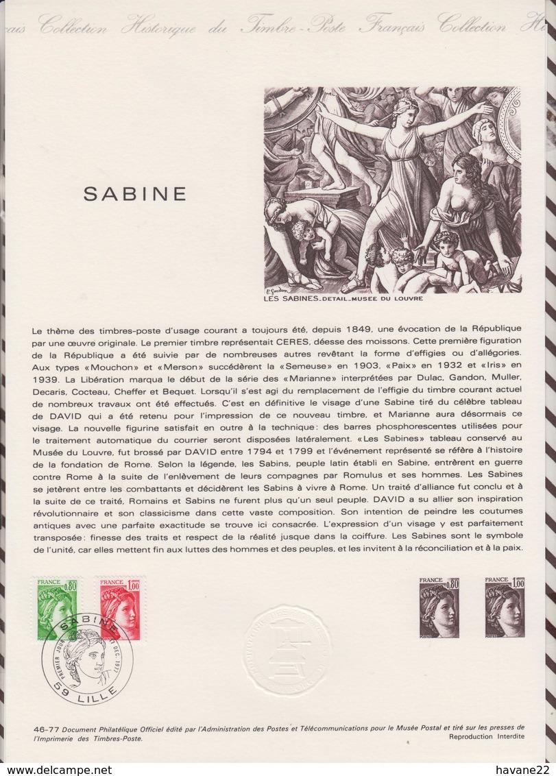 1ER JOUR FEUILLET DOCUMENT PHILATELIQUE 46/1977 SABINE - Documents De La Poste
