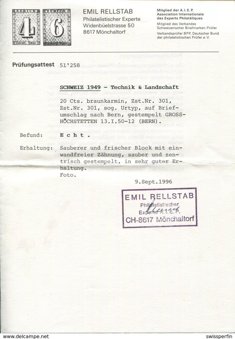 1804 -  Urtype/Grimsel Im Viererblock Auf Brief Mit Stempel GROSSHÖCHSTETTEN 13.I.50 + Attest Rellstab - Suisse