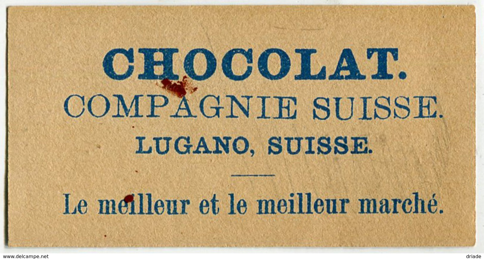 FIGURINA CROMO CIOCCOLATO CHOCOLAT COMPAGNIE SUISSE LUGANO SVIZZERA - Chocolat