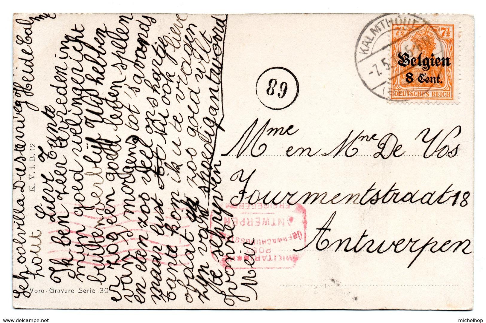 OC13 Sur CF De KALMTHOUT Vers Antwerpen - Censure Mécanique D'Antwerpen En Rouge - WW I