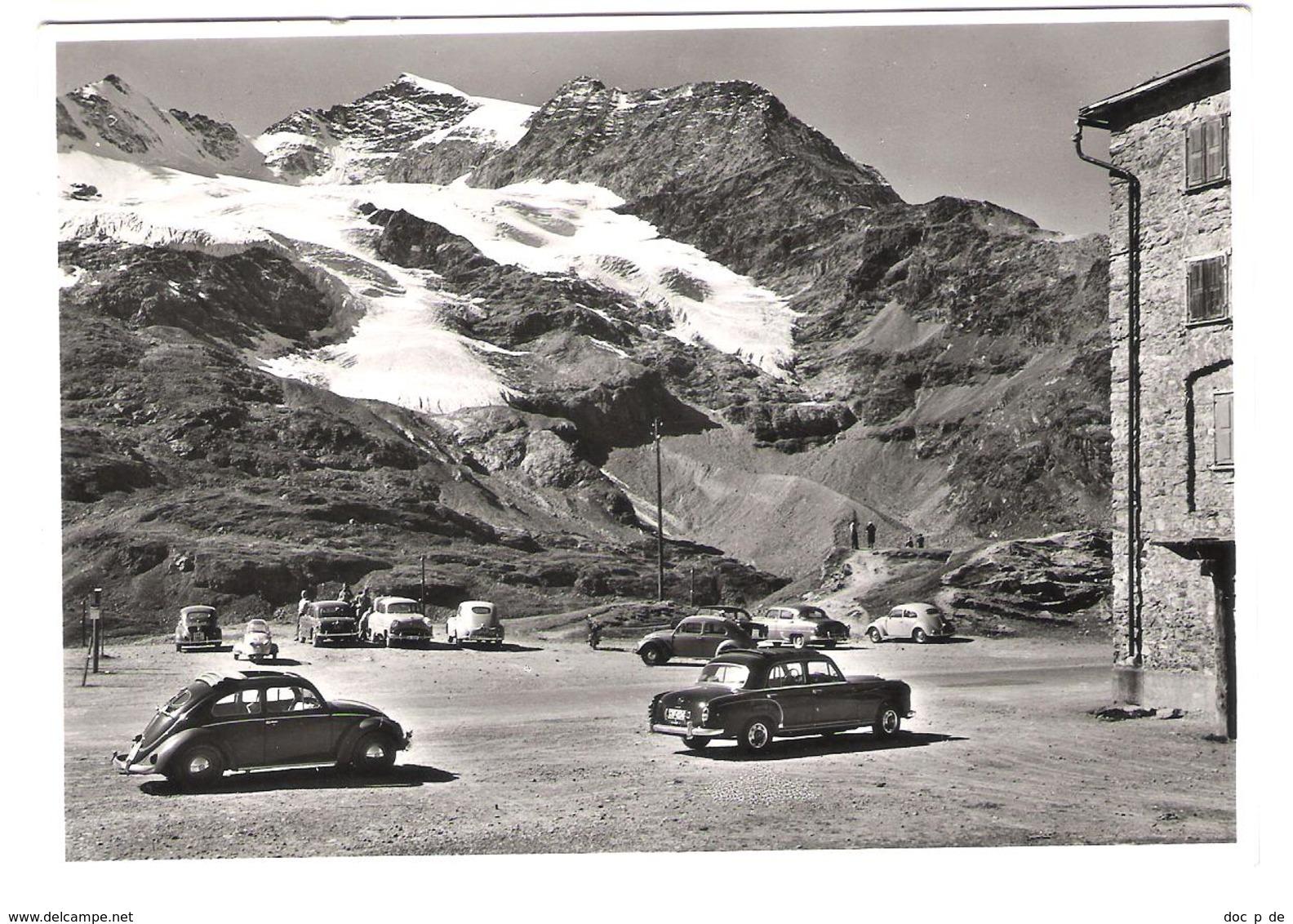 Schweiz - Bernina Hospiz Mit Piz Cambrena - Autos - Oldtimer - Cars - VW Kaefer - GR Graubünden