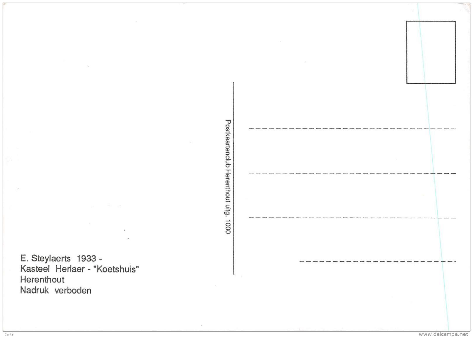 """CPM - HERENTHOUT - Kasteel Herlaer - """"Koetshuis"""" - E. Steylaerts 1933 - Herenthout"""