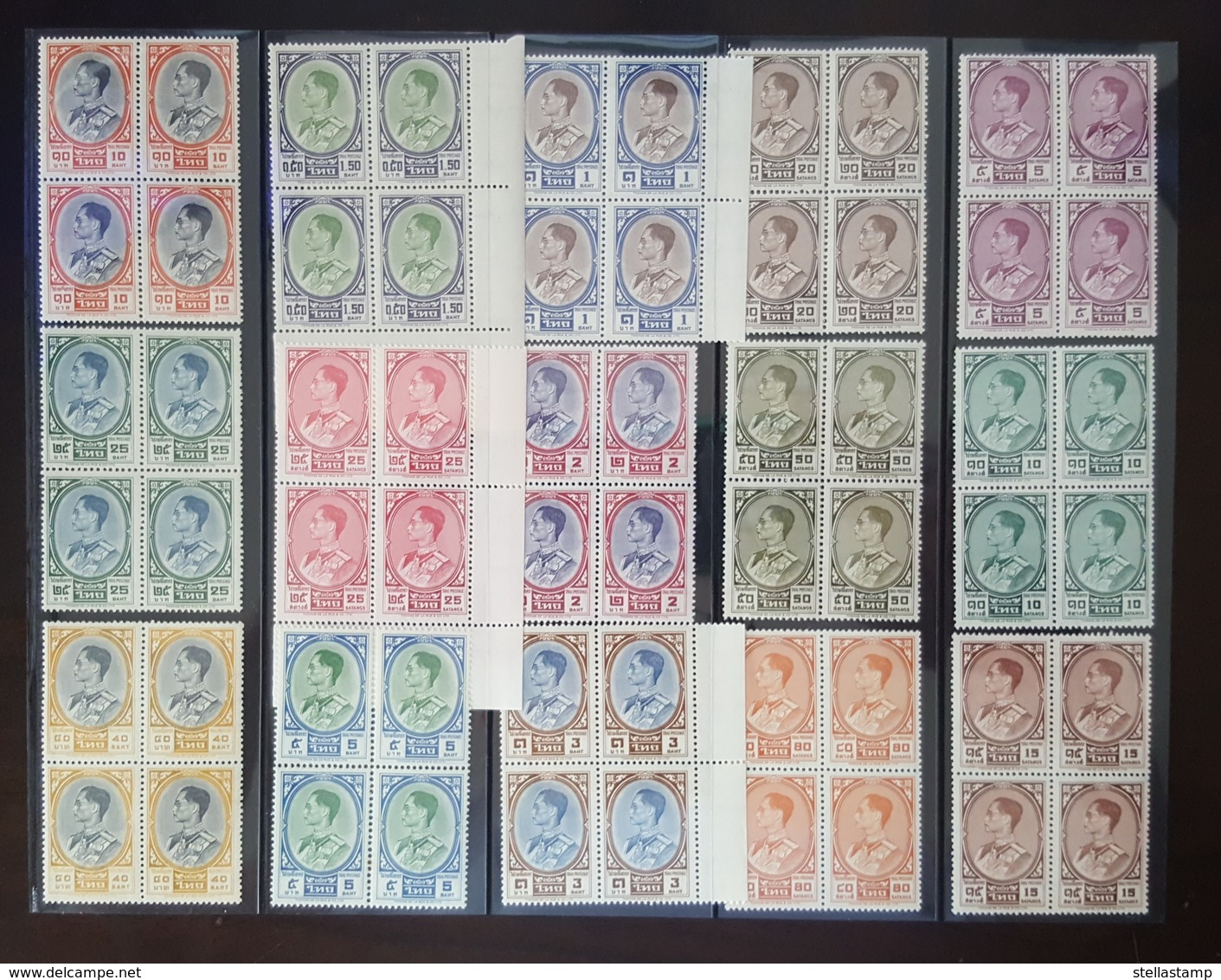 Thailand Stamp Definitive King Rama 9 3th Series Set Of 15 (Missing 1.25 - 4 - 20 Baht) BLK4 - Thailand