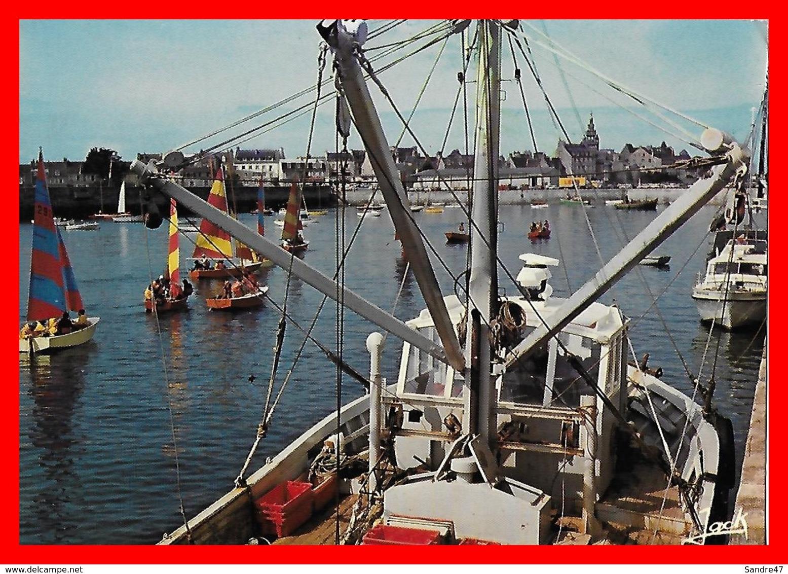 CPSM/gf (29) ROSCOFF.   Le Port, Animé, Bateau De Pêche, Barque à Voile...E738 - Roscoff