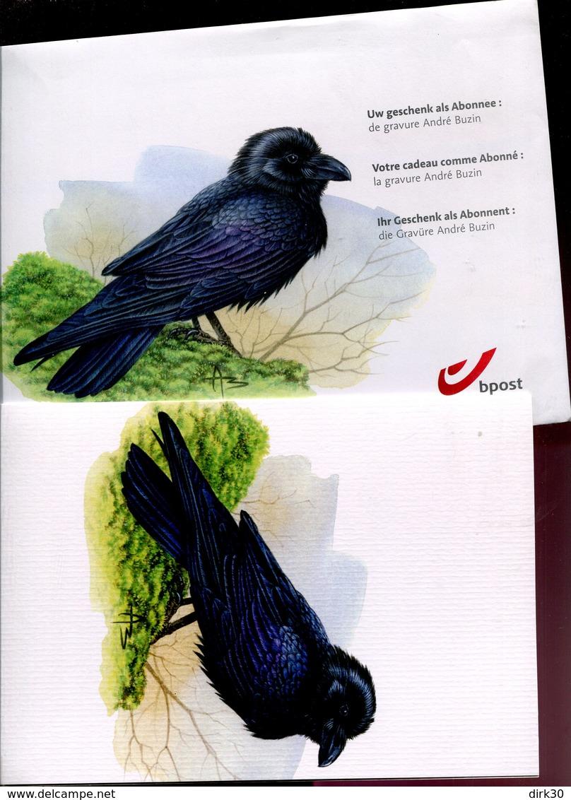 Belgie Buzin Birds Vogels RRAF / CORBEAU GRAVURE Noir + Relief + Couleur + Enveloppe BPost 2 Scans ! RRR - 1985-.. Oiseaux (Buzin)