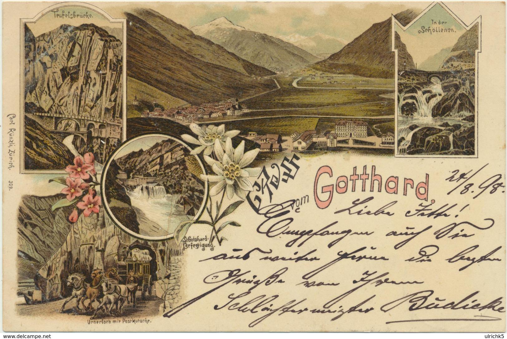 Gruss Vom Gotthard Litho 1898 - TI Tessin