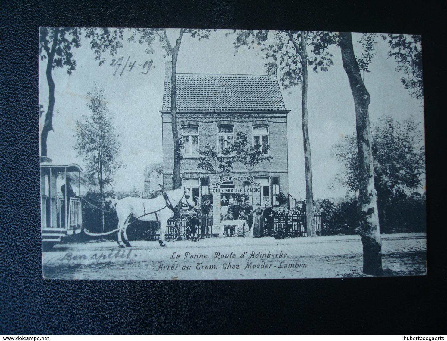 LA PANNE Moeder-Lambic : Café Restaurant Route D'Adinkerke - Arrêt Du Tram Hypomobile En 1909 - Belgique