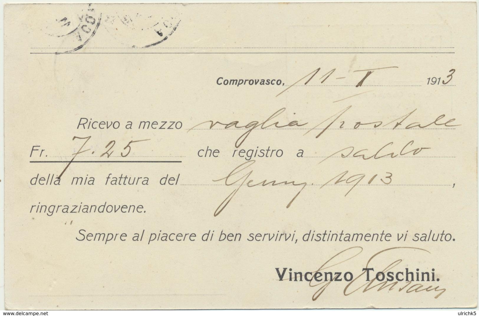 Ticino Karte Comprovasco - Bellinzona - Stempel Acouarossa 1913 - TI Tessin