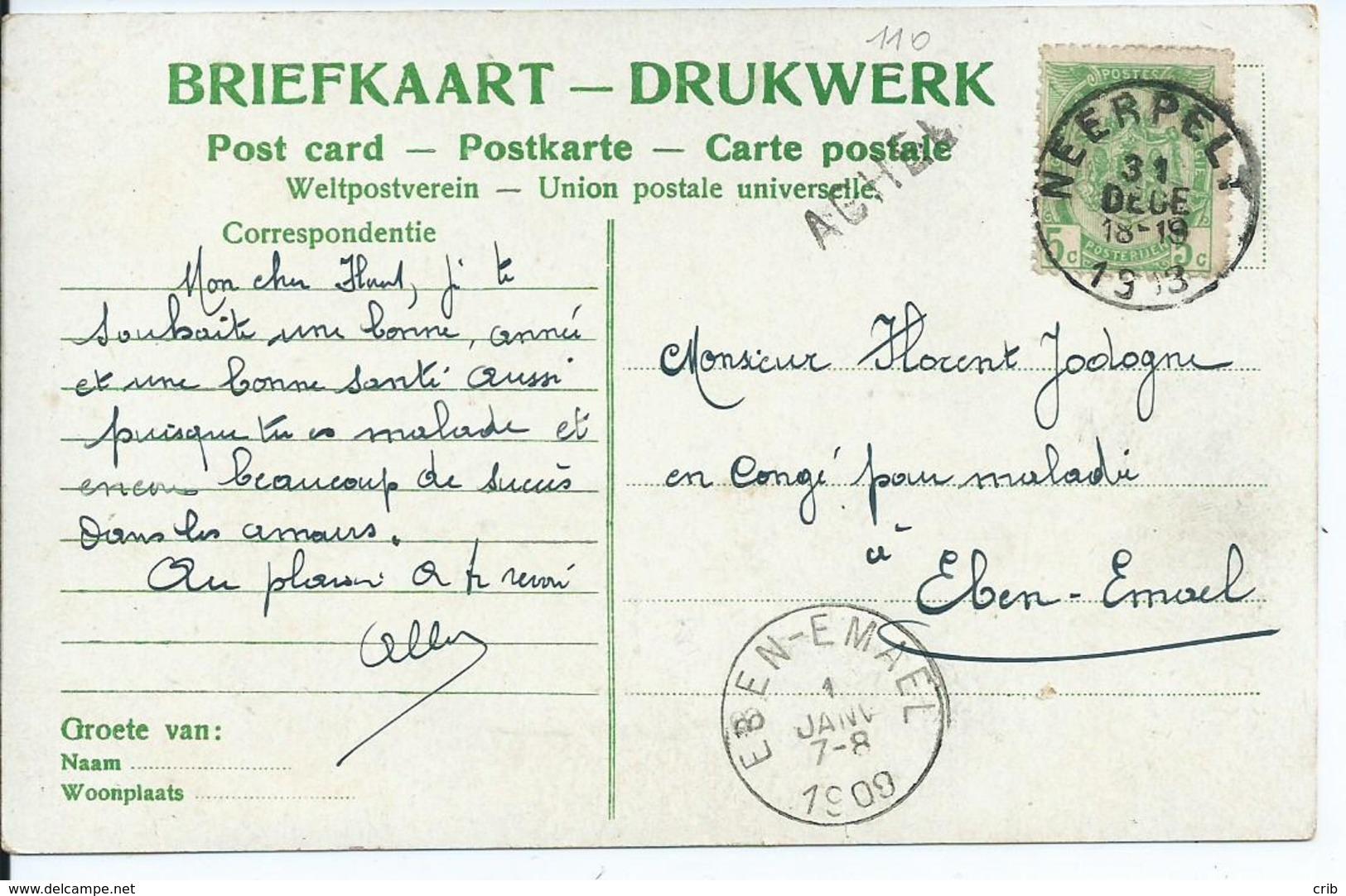 Fantasiekaart  Met OCB 83 - Afstempeling NEERPELT / EBEN-EMAEL  - Lijnstempel ACHEL - 1893-1907 Wappen