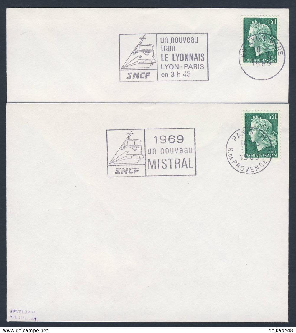 France Rep. Française 1969 Cover / Brief / Lettre (2x) - LE LYONNAIS - Entre Lyon Et Paris + Nouveau MISTRAL - Treinen