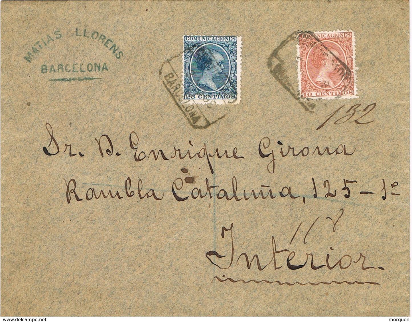 28586. Carta Certificada BARCELONA 1899 Correo Interior - Cartas