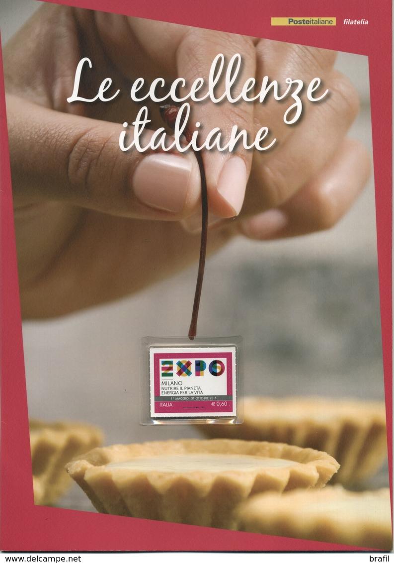 """2015 Italia, Folder  """" Expo - Le Eccellenze Italiane """" Al Prezzo Di Copertina - 6. 1946-.. Republik"""
