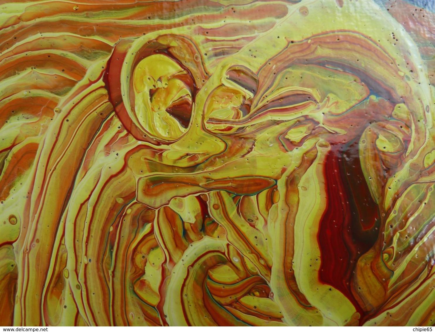 Tableau Acrylique Moderne Réalisé En Technique Pouring. Forme Spirale - Acryliques