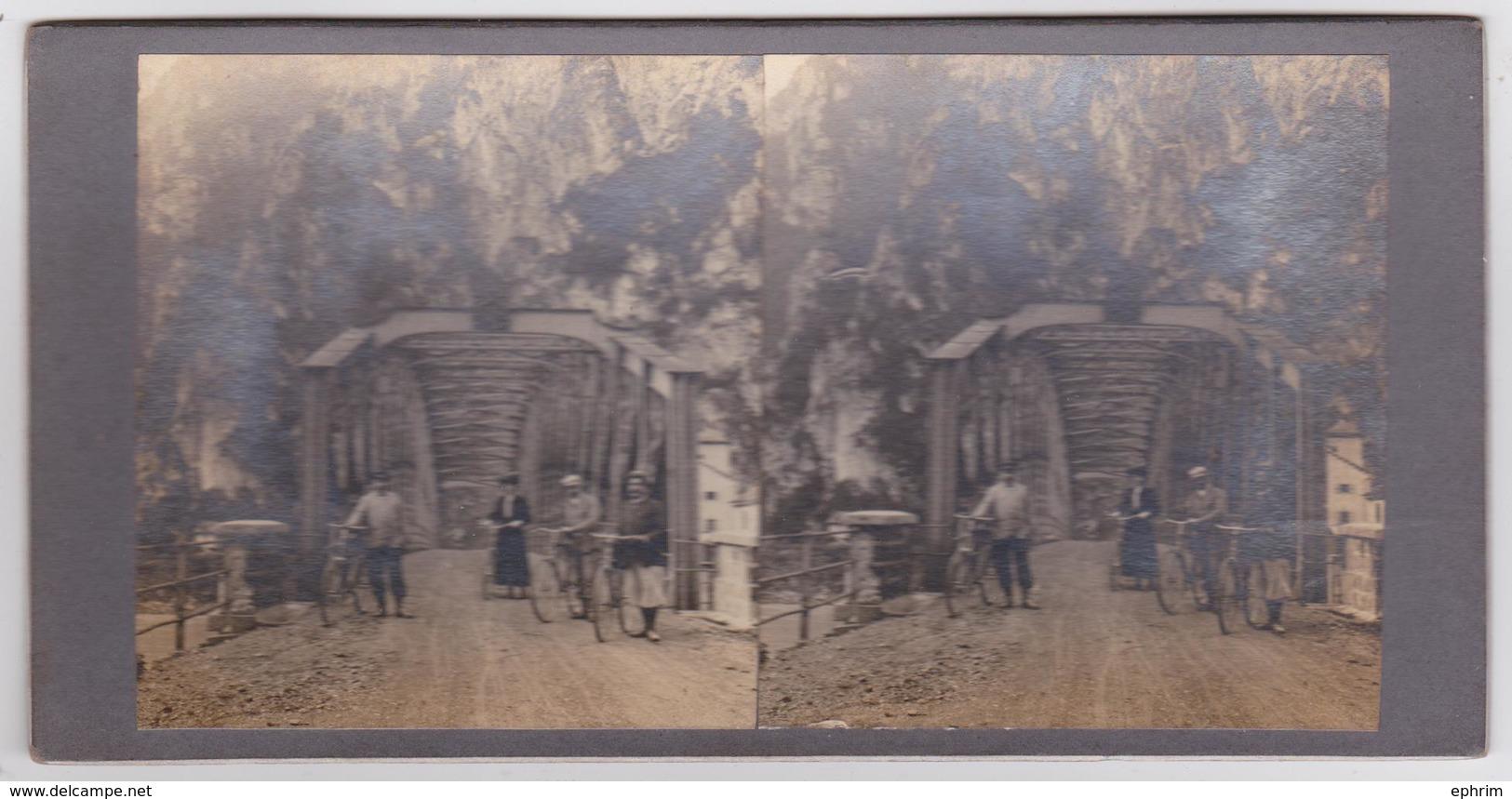 Le Pont Du Rhône Entre Le Bouveret Et Villeneuve (Valais Suisse) - Carte Stéréoscopique Rigide Double Vue 1900 - VS Valais