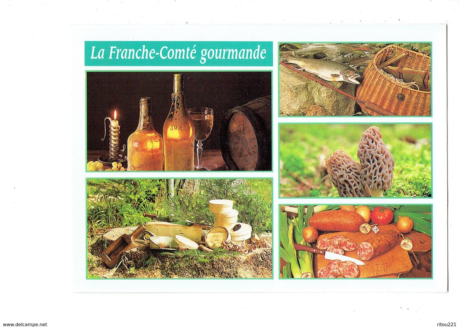 Cpm La Franche-Comté Gourmande Spécialités Vin Du Jura Comté Mont D'or Fromage Truite Champignon Morille Tonneau Raisin - France