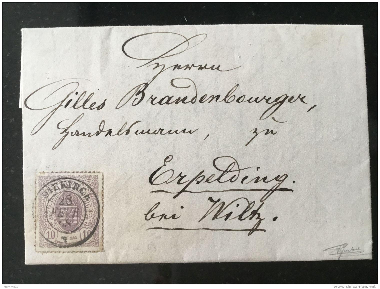 Luxembourg Lettre Avec No 17 Diekirch Erpeldange - 1859-1880 Armoiries