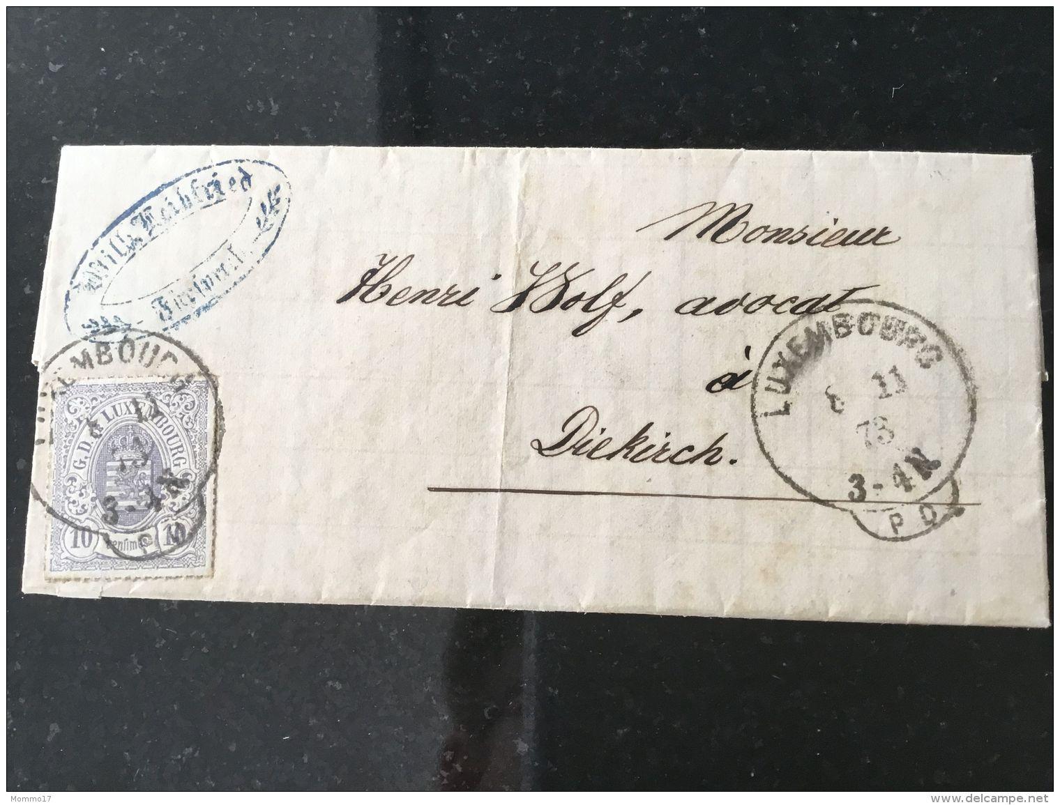 Luxembourg Lettre Avec No 17 Lux-pd - 1859-1880 Wappen & Heraldik