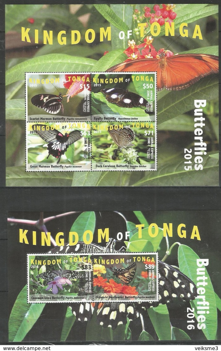 KINGDOM OF TONGA - MNH - Animals - Insects - Butterflies 2015 - 2016 - Butterflies
