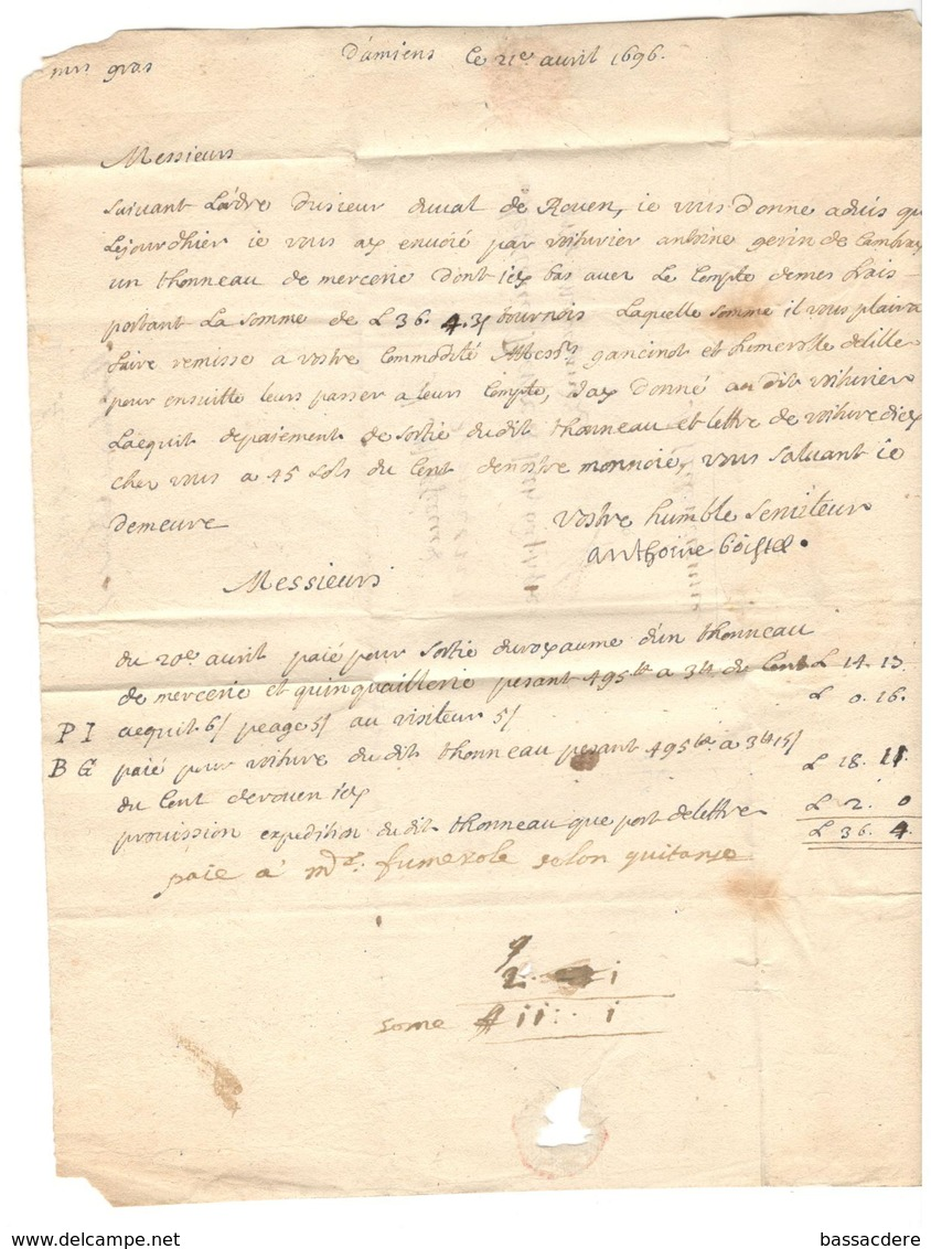 2676 - D'AMIENS  1696 - Marcophilie (Lettres)