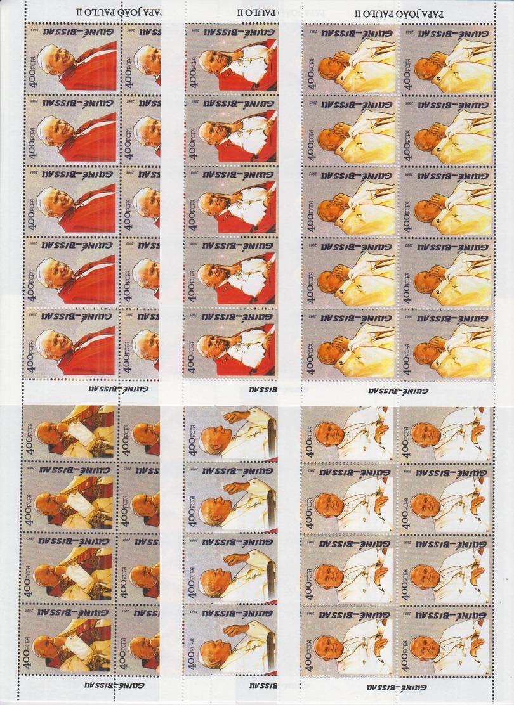 P12. 10x Guine-Bissau - MNH - Famous People - Pope - 2005 - Full Sheet - Célébrités