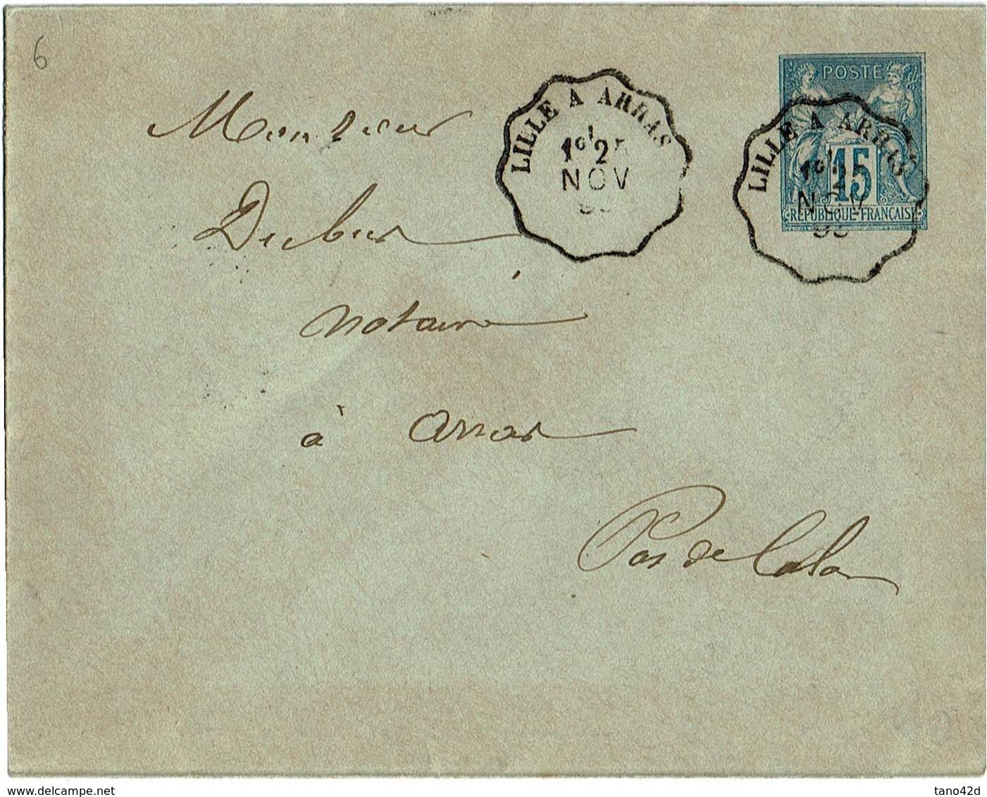 LCA1 - ENV. SAGE15c 123x96mm AMBULANT LILLE A ARRAS CACHET AU VERSO - Postal Stamped Stationery