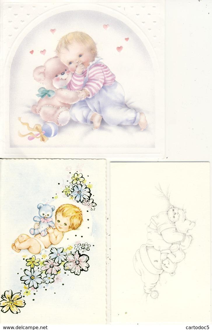 Lot De 3 Faire-Part De Naissance  Adorables Bébés Avec Petits Oursons En Peluche - Naissance & Baptême