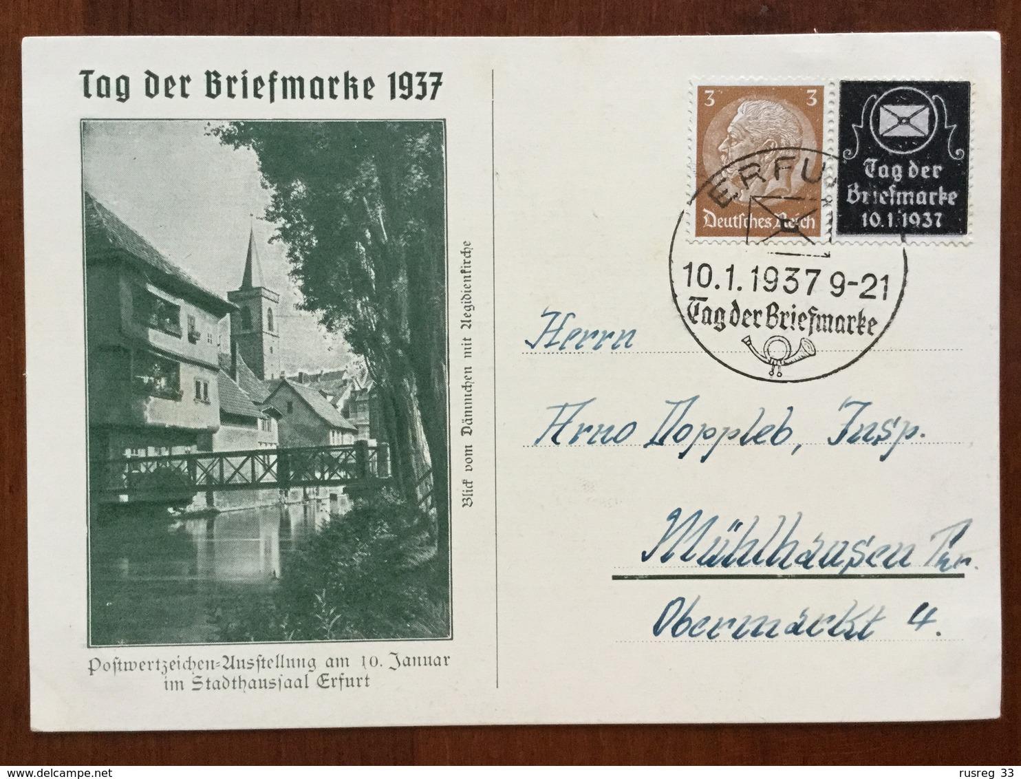 K5 Deutsches Reich 1937 Sonderkarte Tag Der Briefmarke Mit Sst. Erfurt - Allemagne
